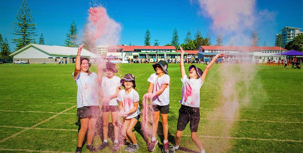 colour splashes at the school fun run
