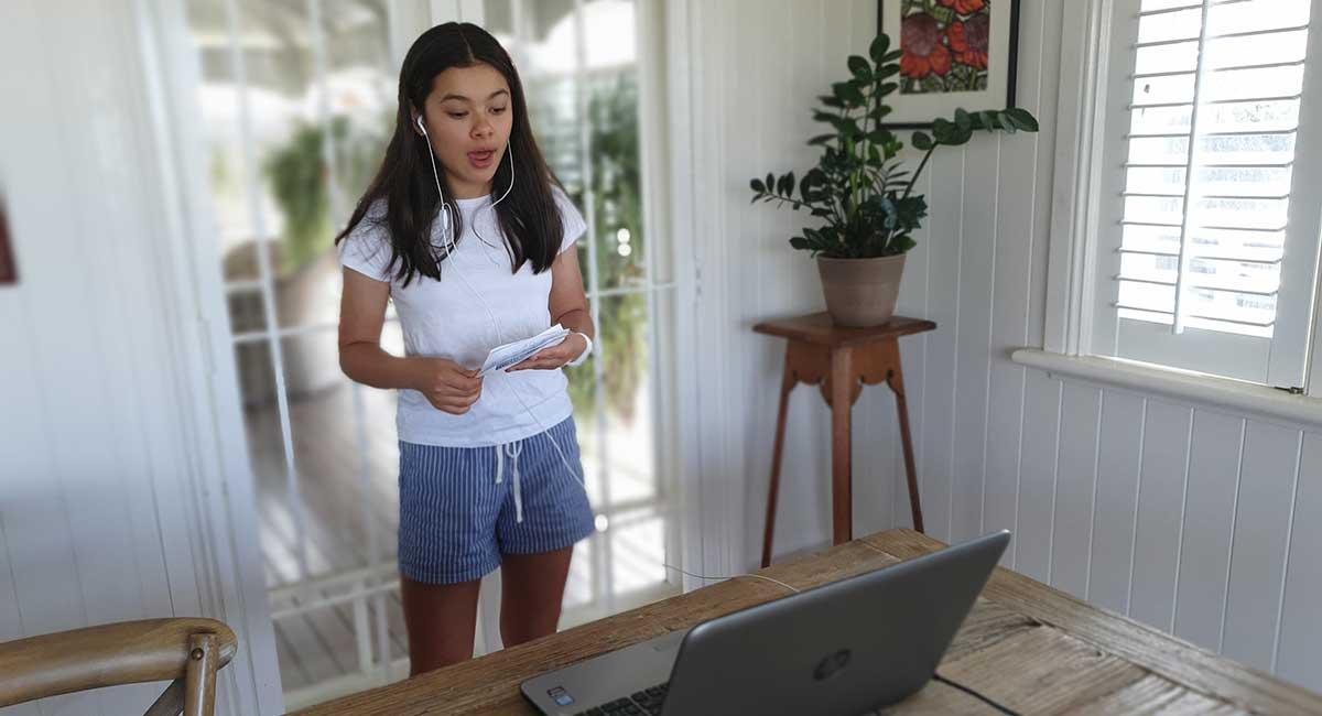 student from Debating Australia taking part in online debate