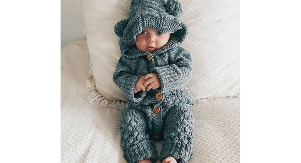 knit onesie for baby's winter wardrobe