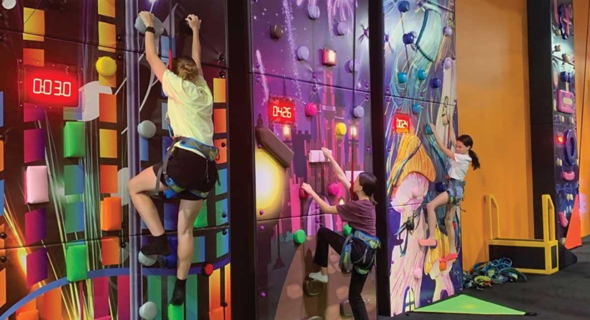 Climbing wall and fitness activities at Rush Adventureland Maroochydore